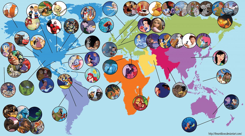Mappa film Disney nel mondo